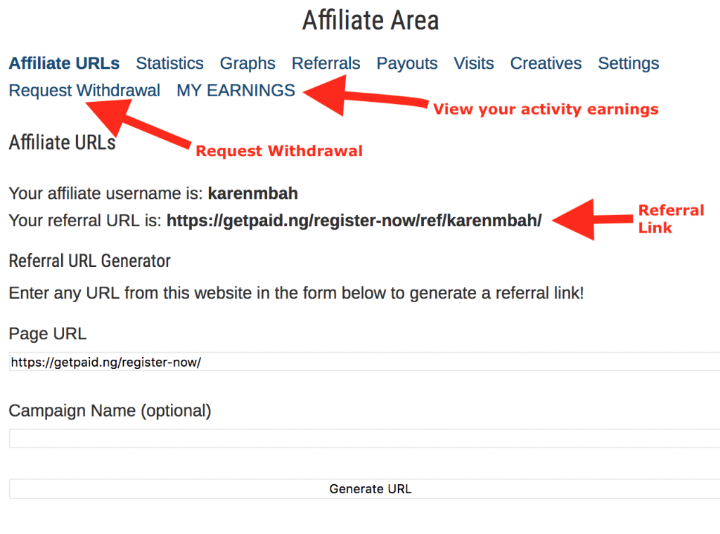 GetPaid.ng Affiliate Area